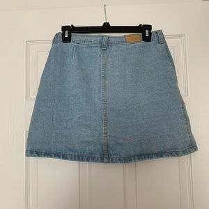 Skirts - High-Waist Button Denim Skirt